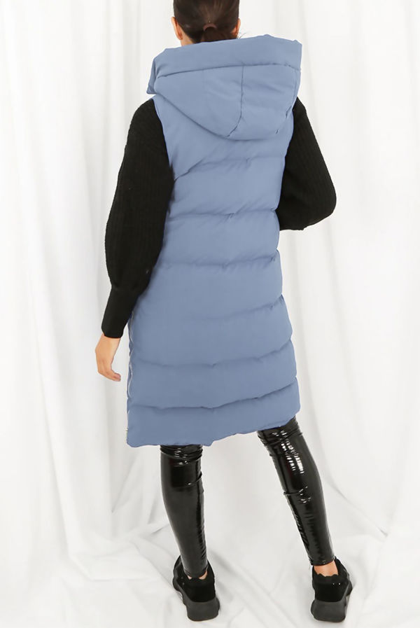 Denim Longline Hooded Puffer Gilet