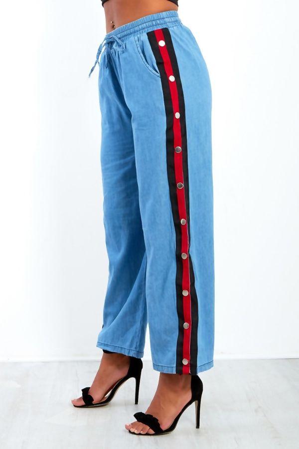 Denim Popper White Stripe Wide Leg Trousers
