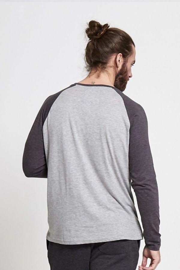 Denim Raglan Button Up T-Shirt