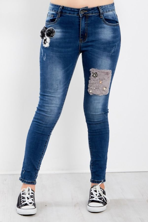 Denim Rhinestone Fur Patch Jeans