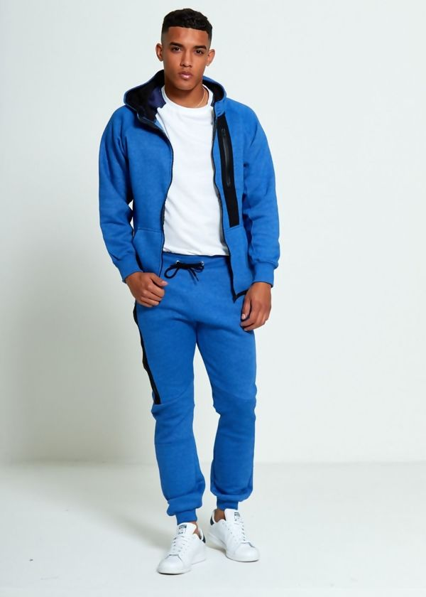 Denim Zip Detail Fleece Hooded Tracksuit