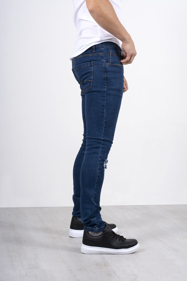 Blue Knee Ripped Skinny Fit Jeans