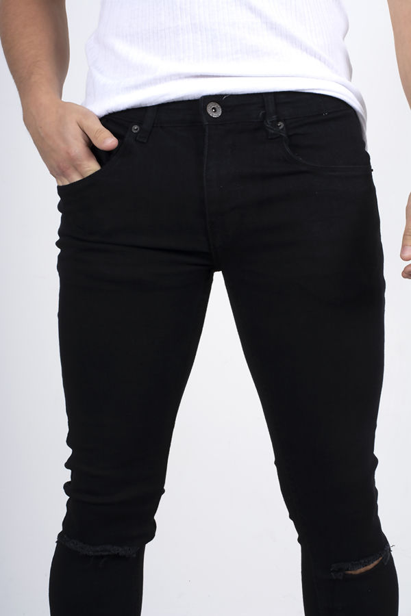 Black Knee Ripped Skinny Fit Jeans