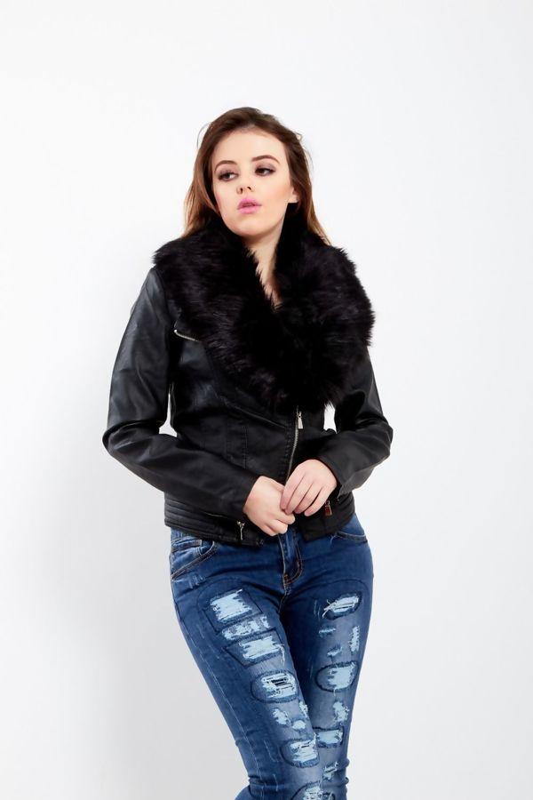 Detachable Faux Fur Biker Jacket