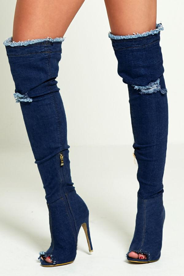 Distressed Blue Denim Thigh High Boots