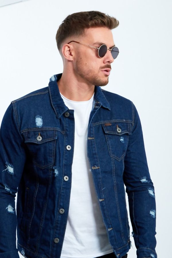 Distressed Dark Denim Jacket