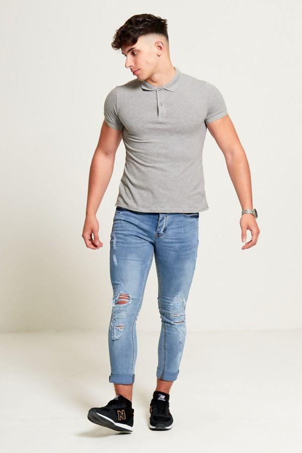 Distressed Detail Skinny Fit Denim Jeans