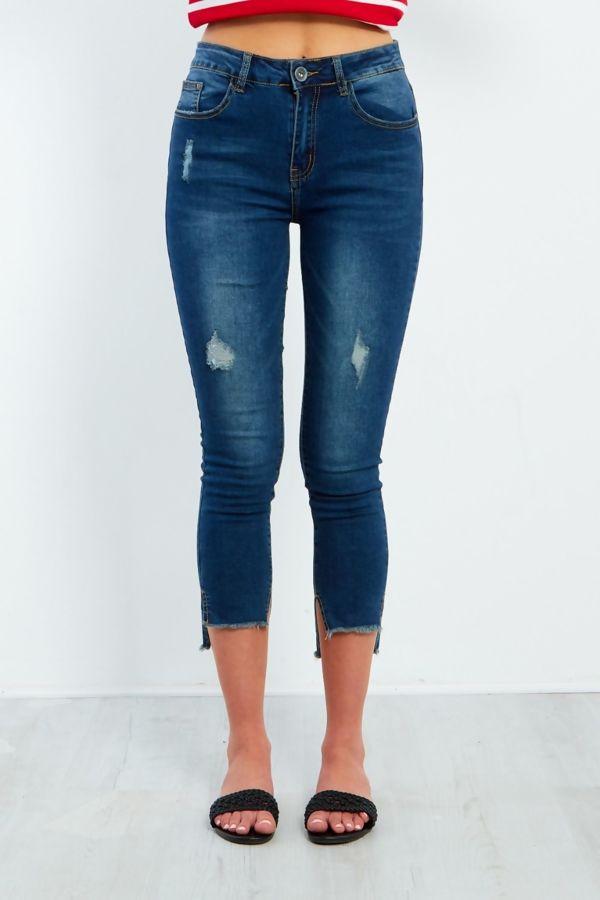 Distressed Frayed Hem Cropped Skinny Jeans