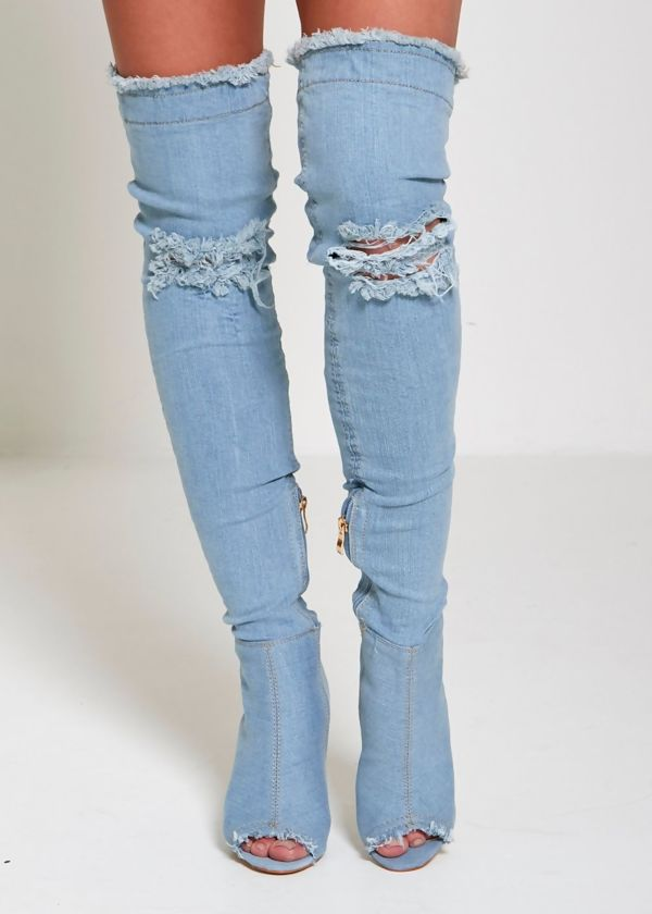 Distressed Light Denim Thigh High Boots