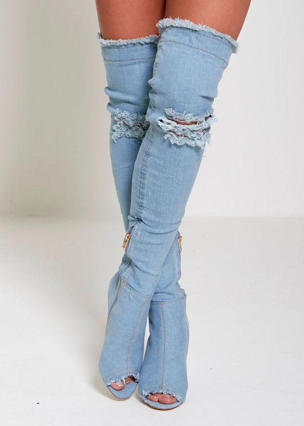 Distressed Light Denim Thigh High Boots
