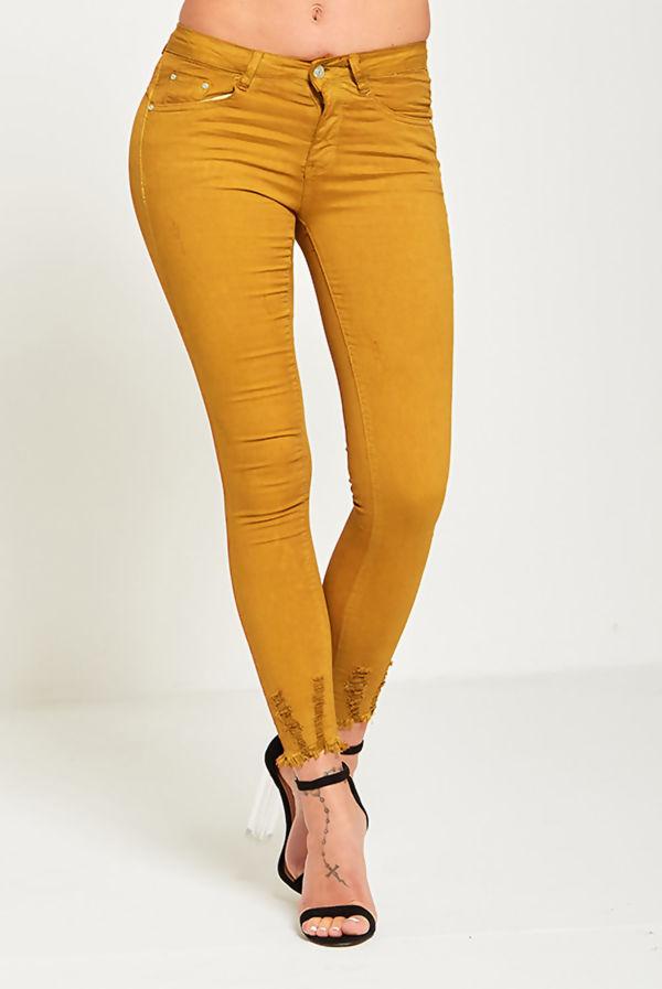 Distressed Light Hem Mustard Jeans