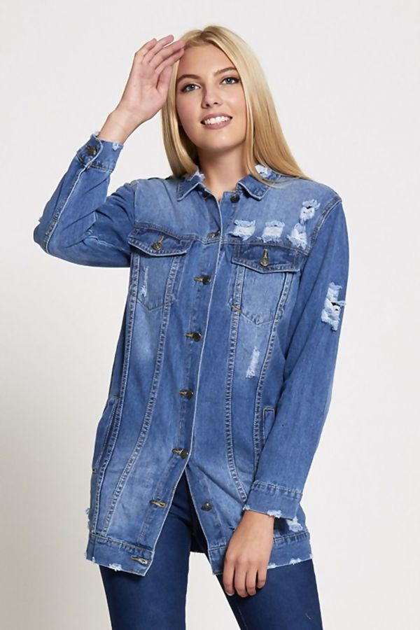 Distressed Long Line Denim Jacket