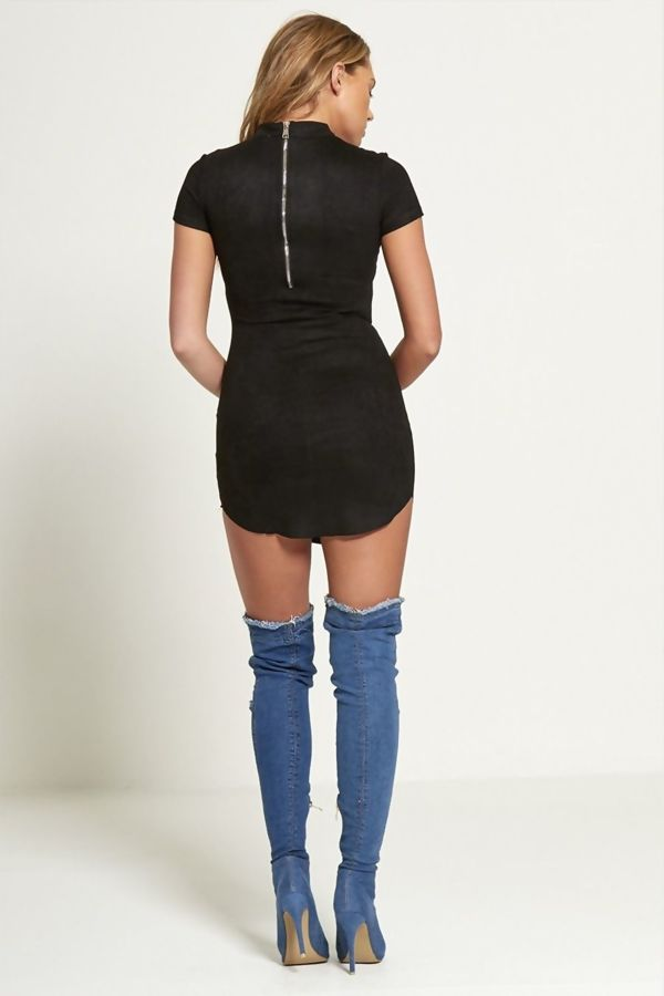 Distressed Mid Denim Thigh High Boots
