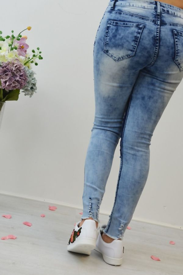 Distressed Stonewashed Denim Skinny Jeans