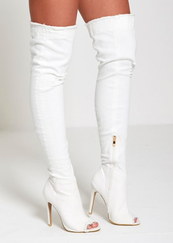 Distressed White Denim Thigh High Boots