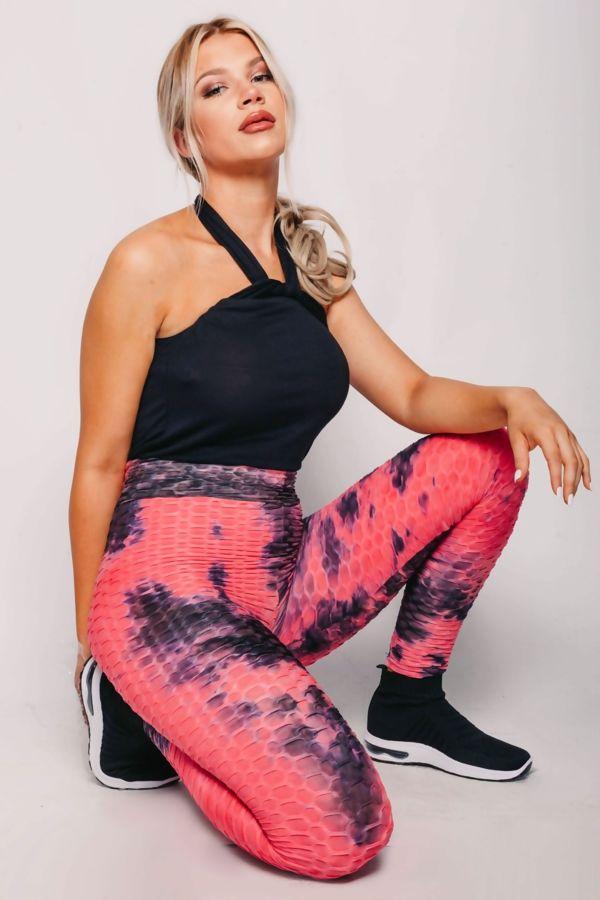 Textured Tie Dye High Waist Gym Leggings