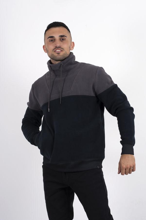 Charcoal Two Tone Funnel Neck Fleece Sweatshirt