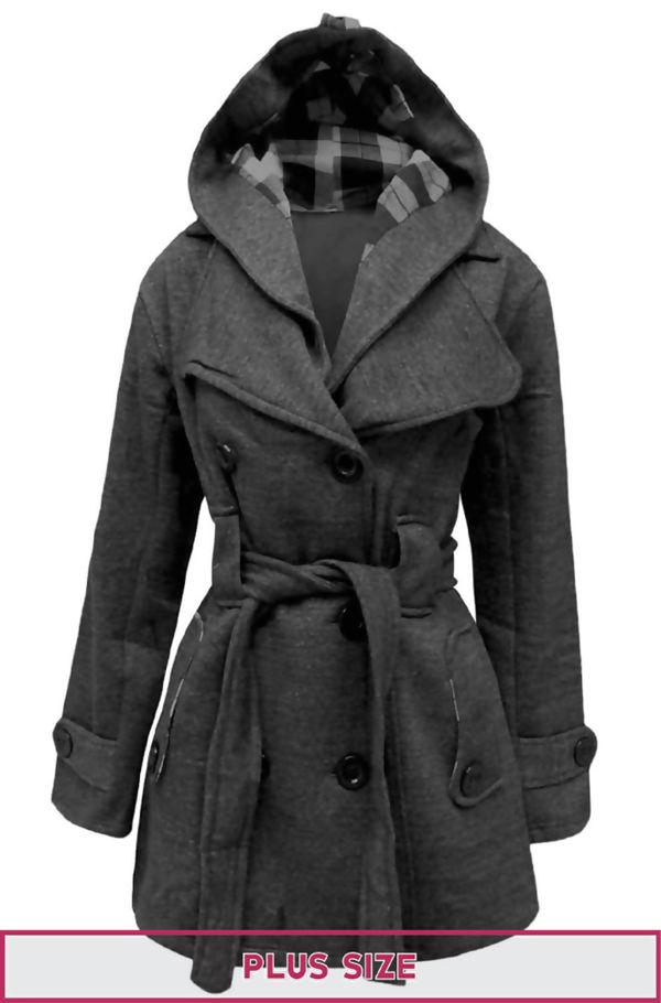 Double Plus Size Dark Grey Double Breast Coat