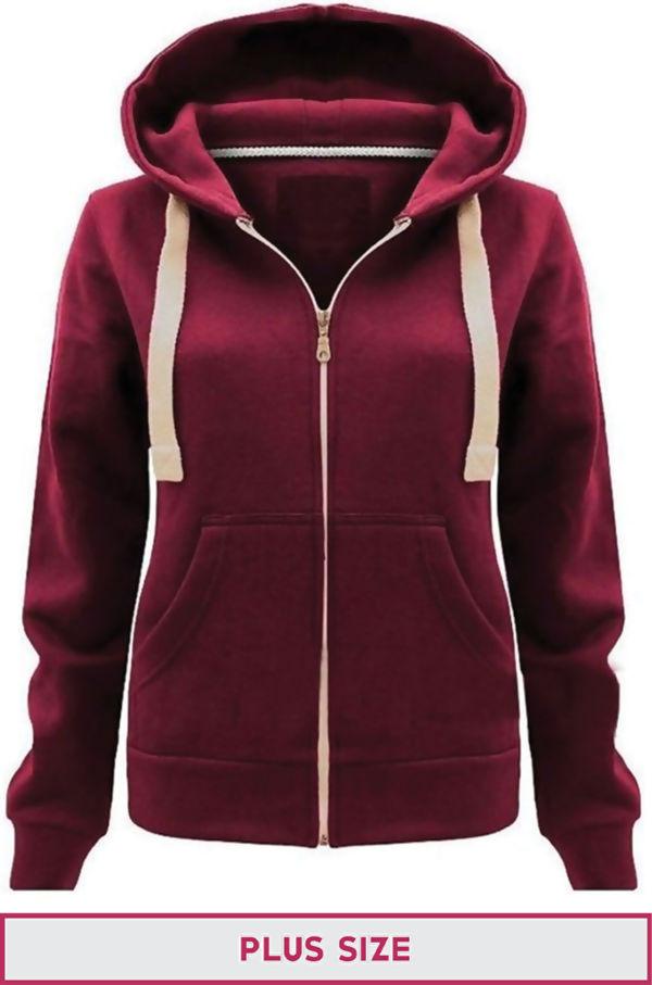Double Plus Size Wine Basic Hooded Jacket