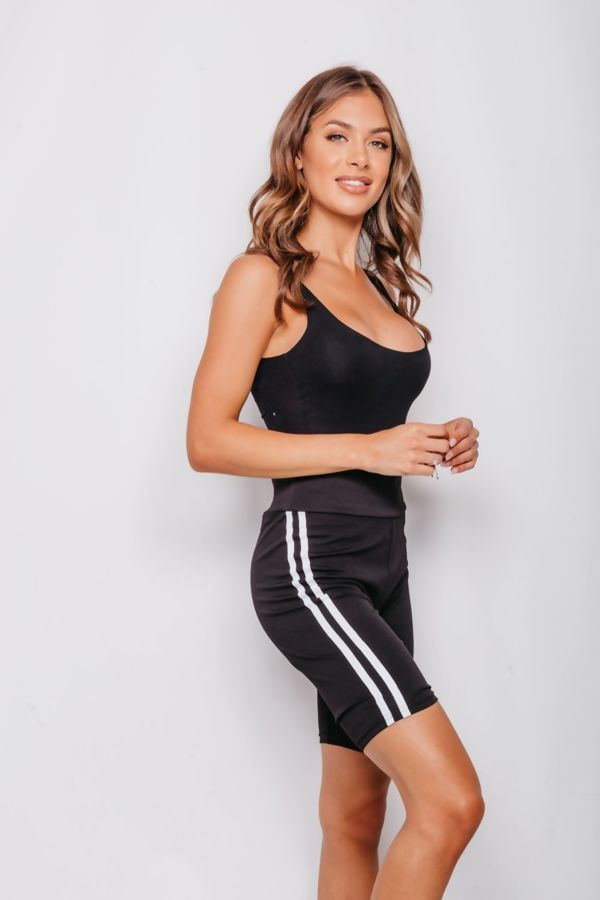 Black Double Stripe Cycling Shorts