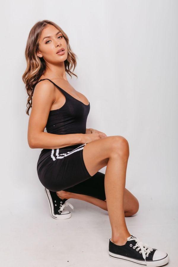 Black Double Stripe Cycling Shorts
