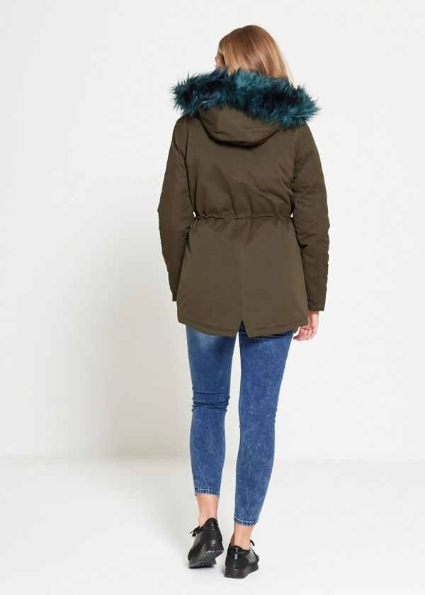 Drawstring Army Green Fur Hood Parka