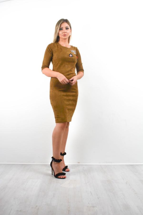 Suede Tiger Embroidery Mini Dress