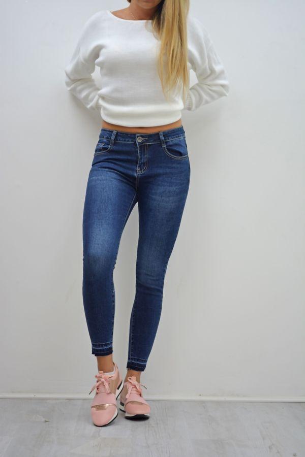 Dark Denim Let Hem Skinny Jeans