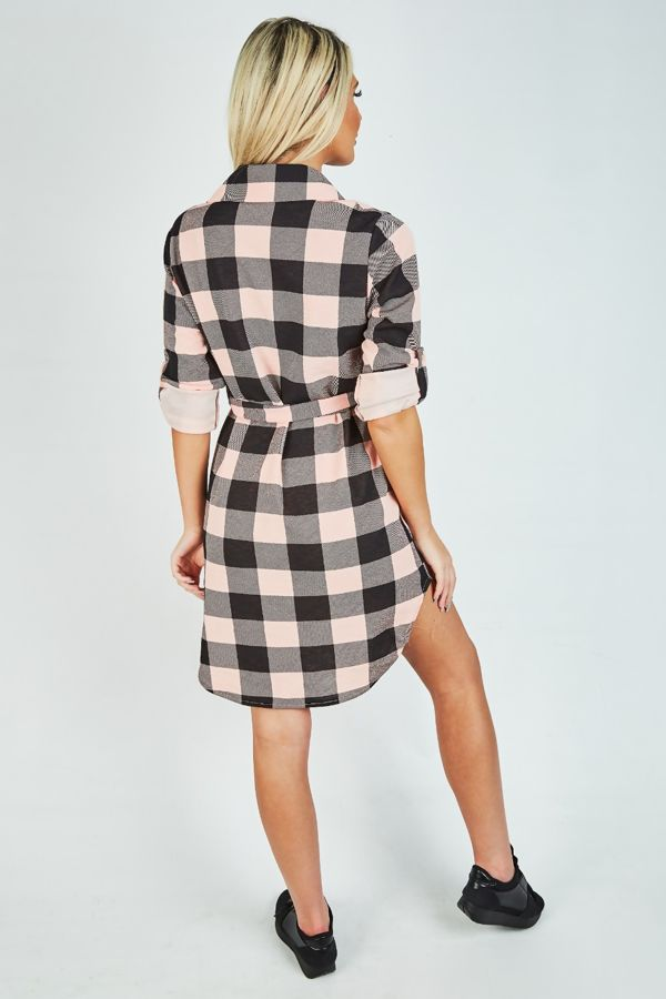 Dusty Checked Tie Shirt Dress