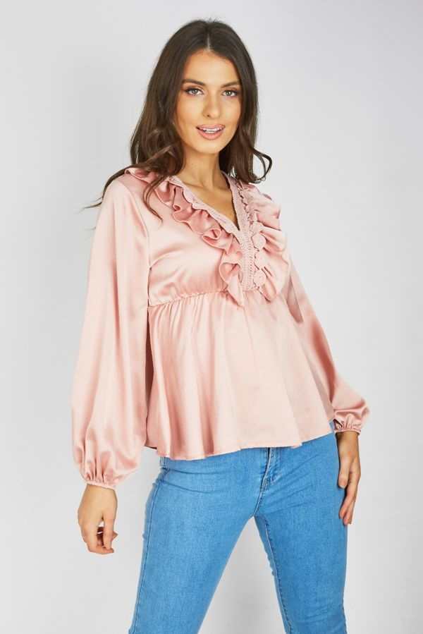 Dusty Crochet Ruffle Blouse