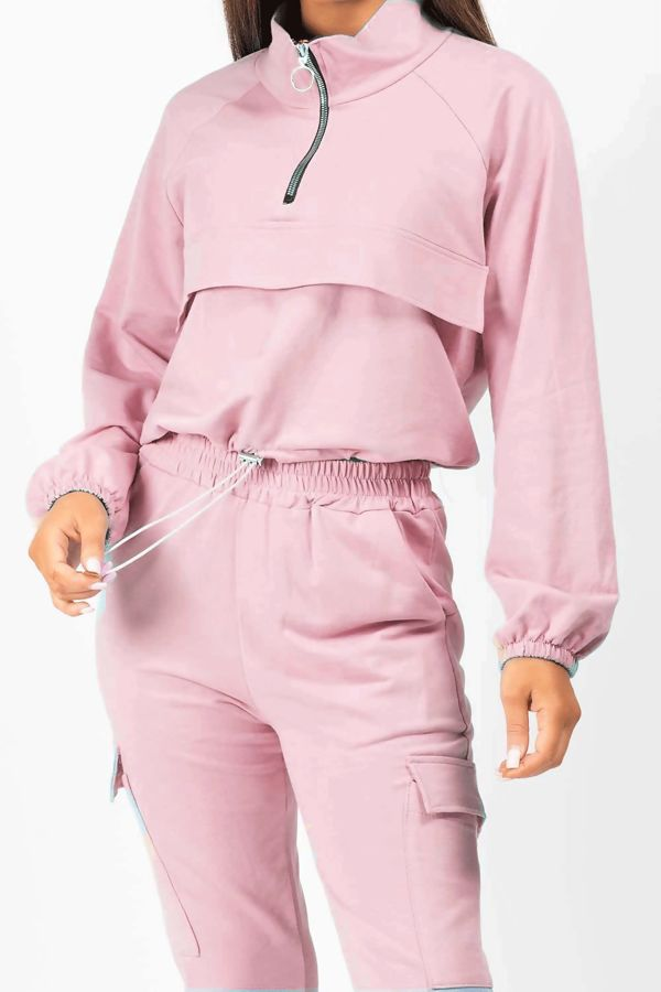 Dusty Front Pocket Half Zip Lounge Set