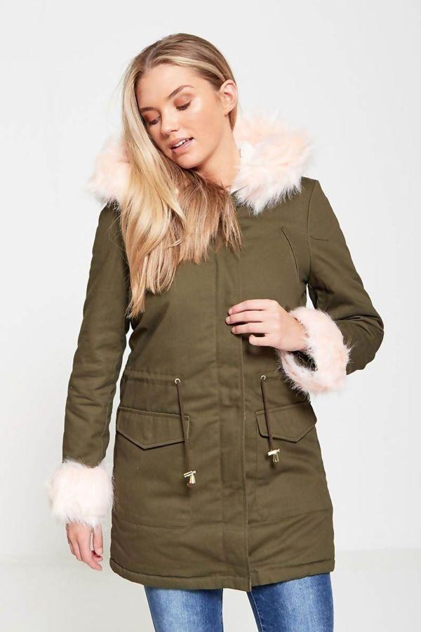 Dusty Fur Hood Military Parka