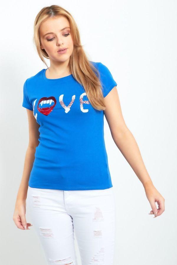 Cerise Paillette Sequin Love Slogan T-Shirt