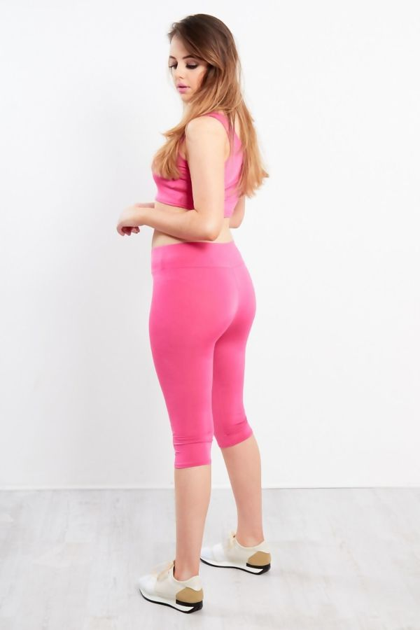 Dusty Pink Active Wear Crop Top And Leggings Set