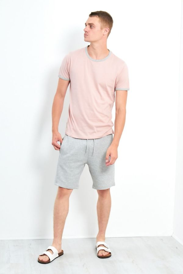 Dusty Pink Contrast Crew T-Shirt