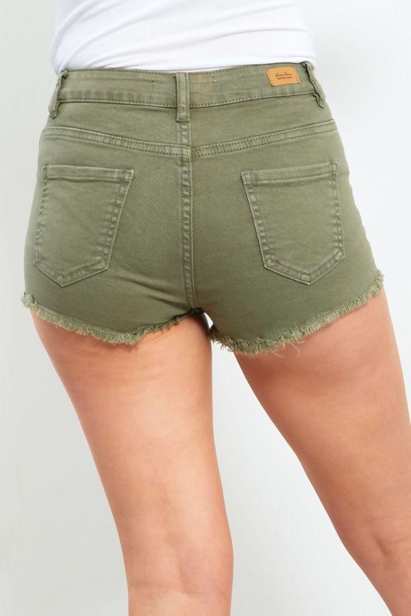Dusty Pink Frayed Hem Denim Shorts