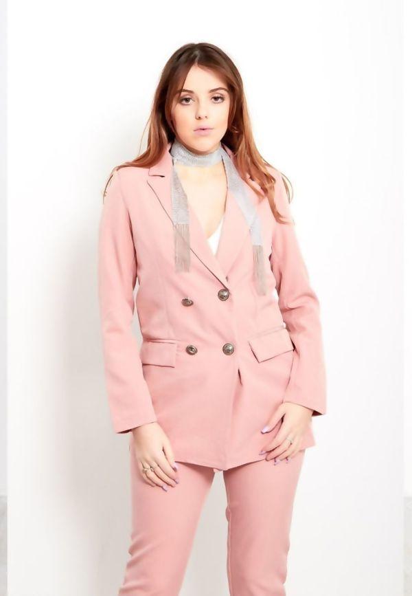Dusty Pink Longline Blazer Size 12