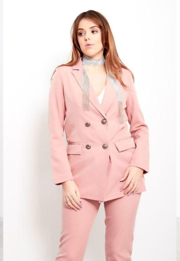 Dusty Pink Longline Blazer