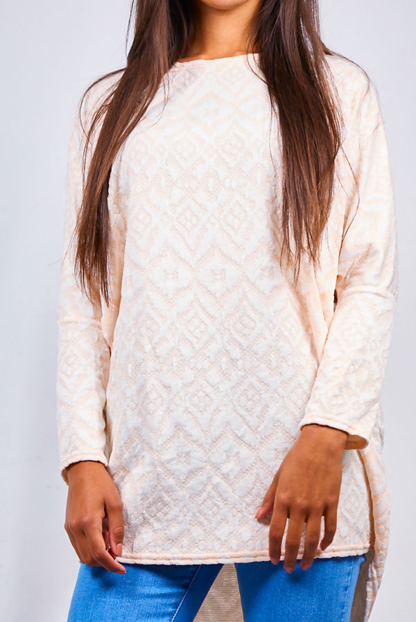 Dusty Pink Patterned Dip Hem Batwing Top