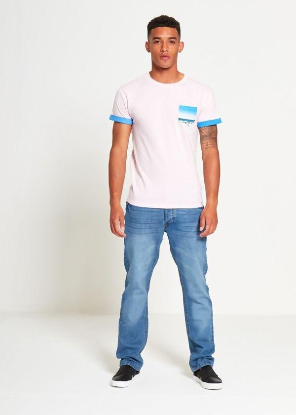 Dusty Pink Pocket Print T-Shirt