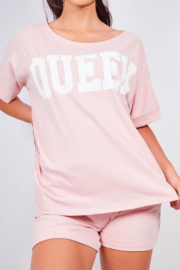 Dusty Pink Queen Lounge Wear Short Set