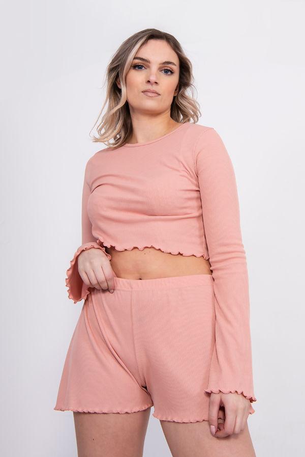 Dusty Pink Ribbed Ruffle Lounge Shorts Set