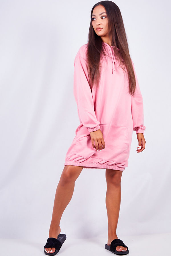 Dusty Pink Slouchy Pocket Hooded Sweat Dress