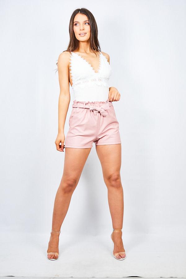 Dusty PU High Waist Paper Bag Shorts
