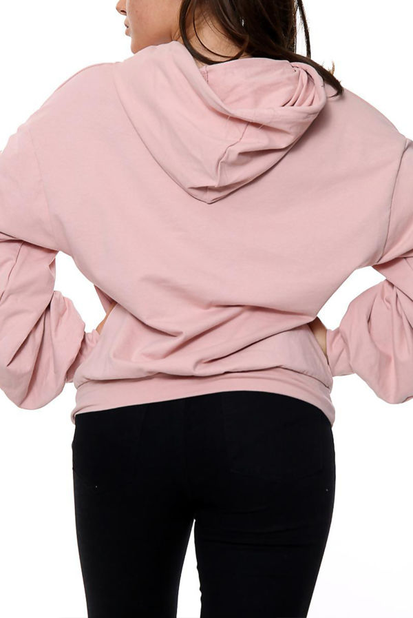 Dusty Ruched Balloon Sleeve Hoodie