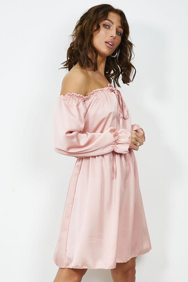 Dusty Satin Bardot Dress