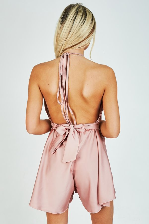 Dusty Satin Halter Wrap Knot Playsuit
