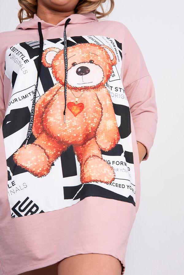 Dusty Teddy Bear Hooded Pocket Sweat Dress