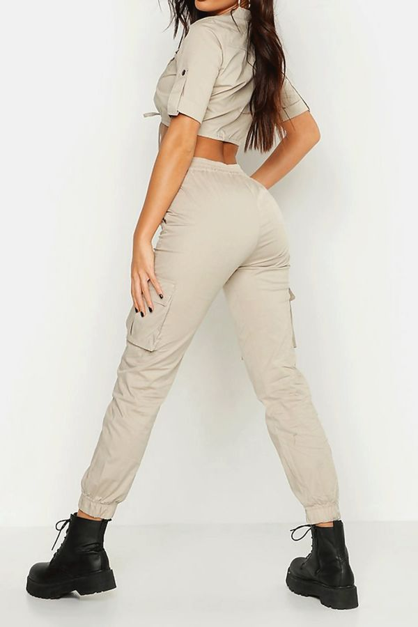 Dusty Woven Utility Cropped Shirt & Pants Lounge Set