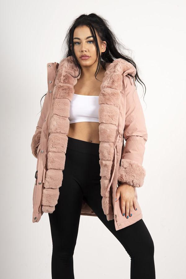 Dusty Faux Fur Trim Hooded Coat